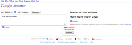 Google Translate mit Spracheingabe