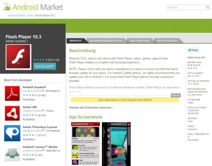 Flash Player 10.3 im Android Market