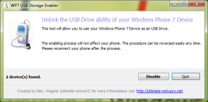 WP7 USB Storage Enabler