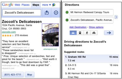 Mobile Web-Version von Google Maps