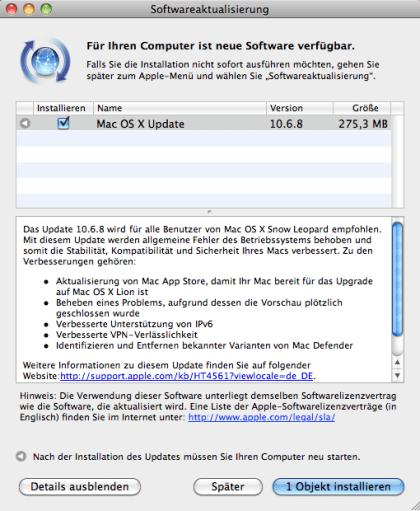 Update auf Mac OS X 10.6.8