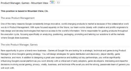Stellenausschreibung für Games at Google