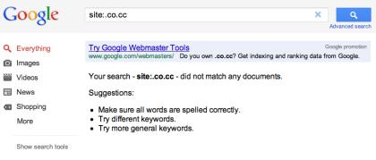 Google: .co.cc gesperrt