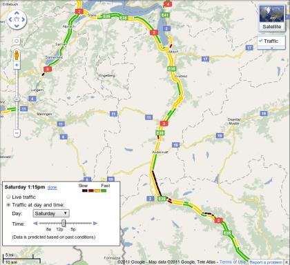 Google Maps mit Verkehrsinformationen