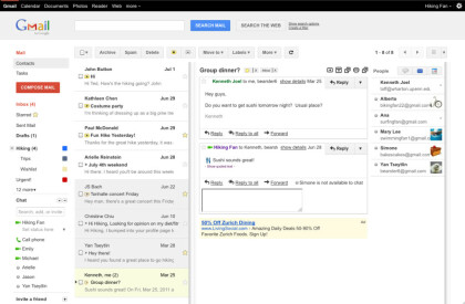 Google Mail mit Preview Pane