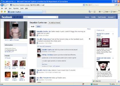 Profil eines Häftlings bei Facebook