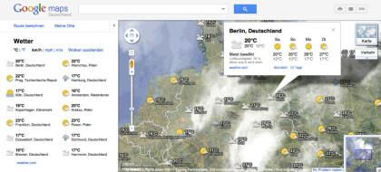 Google Maps mit Wetter-Ebene
