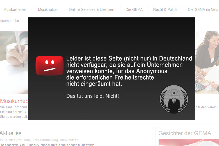 Anonymous hackt GEMA