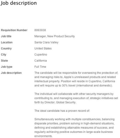 Apple sucht New Product Security Manager