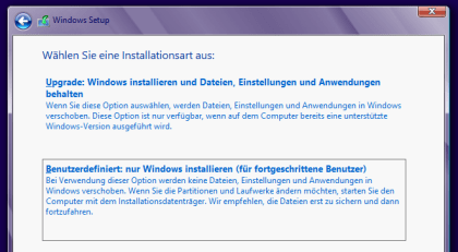 Windows 8 Upgrade und Installation