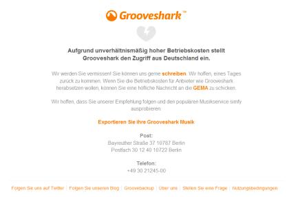 Grooveshark Abschaltung
