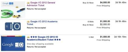 Google I/O 2012-Tickets auf eBay