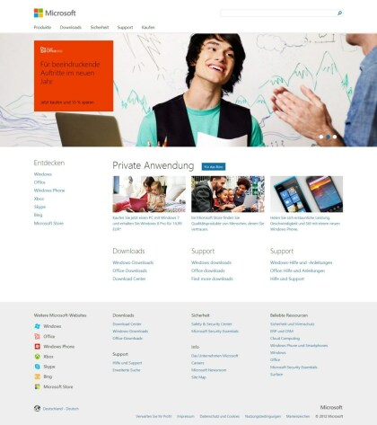Microsoft.com im Windows 8-Look