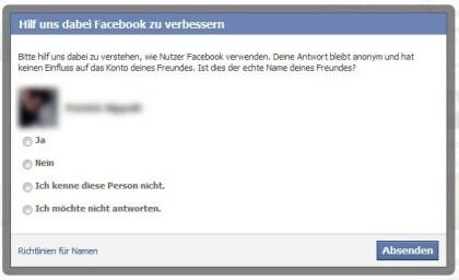 Facebook Pseudonym-Frage