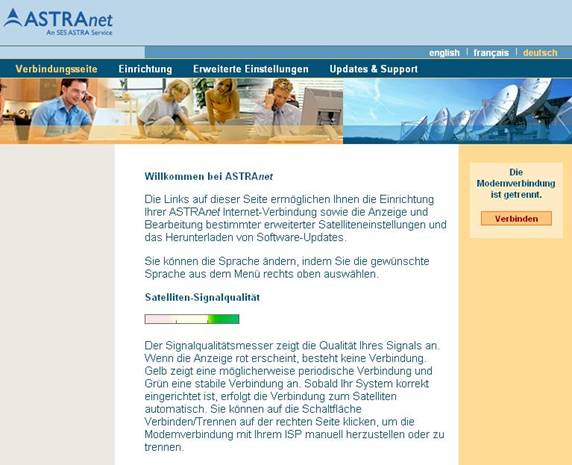 Startbildschirm AstraNet