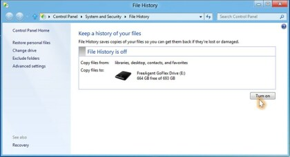 Windows 8: File History