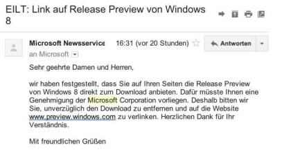 Windows 8 Download Abmahnung