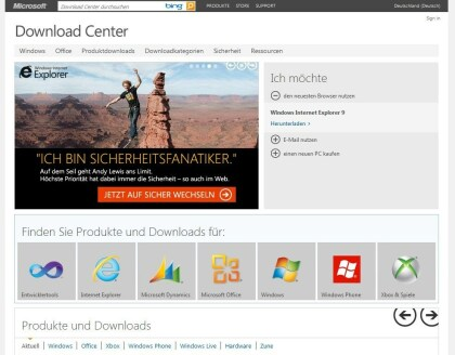 MS Download Center deutsch Metro-Look