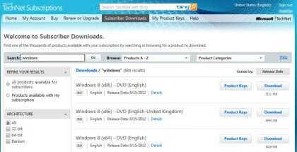 Windows 8 RTM auf TechNet