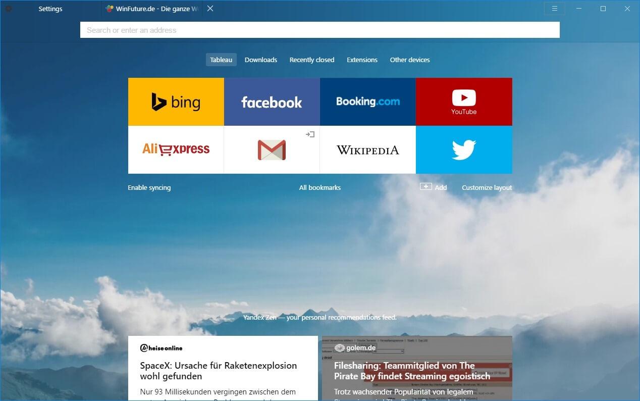 Yandex Browser - Browser mit Virenscanner und Turbo-Modus