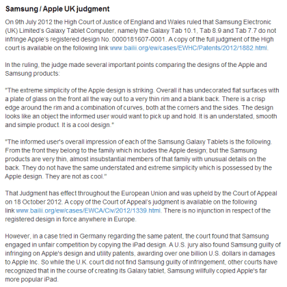 Apple Samsung UK Judgement