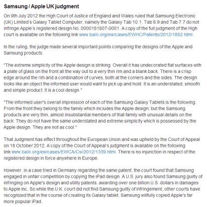 Apple Samsung UK Judgement