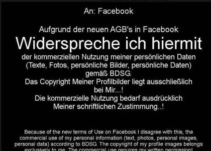 Facebook-Widerspruchs-Hoax