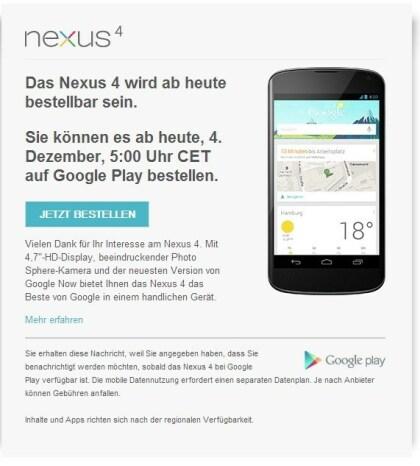 LG Nexus 4 Bestellbarkeit
