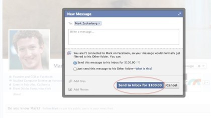 100-Dollar-Nachricht an Mark Zuckerberg