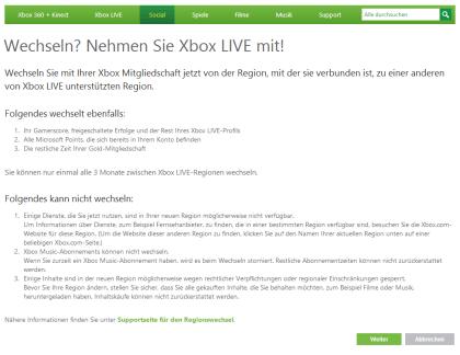 Xbox Live: Wechsel der Region