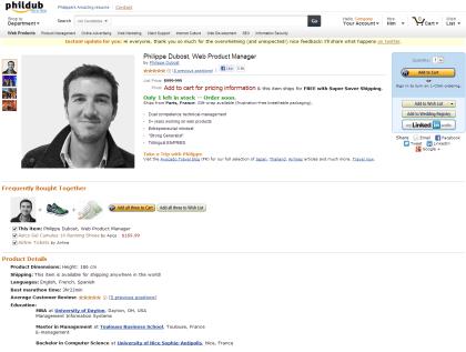 Bewerbung im Stil einer Amazon-Produktseite