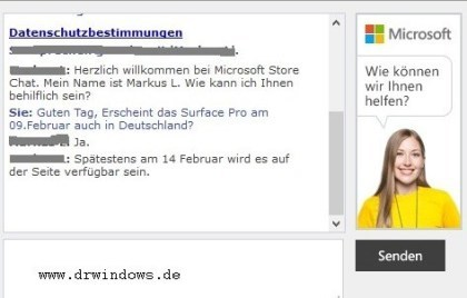 Surface Pro: Chat mit Microsoft Store