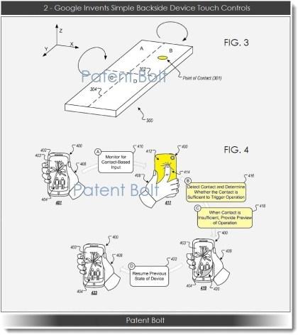 Google: Patentantrag für Rückseiten-Bedienung