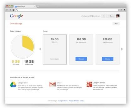 Google Drive Storage Page