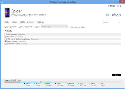 Windows Phone-Desktopanwendung