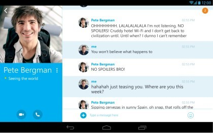 Skype f�r Android: Version 4.0