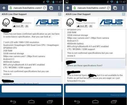Zweites Nexus 7: Support-Chat mit Specs