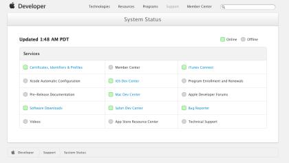 Apples Entwickler-Seite teilweise wieder online