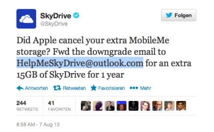 SkyDrive-Offerte an MobileMe-Kunden