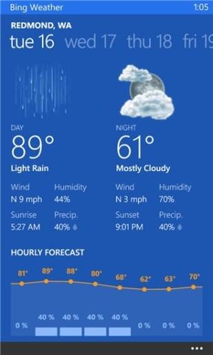 Windows Phone: Bing Wetter