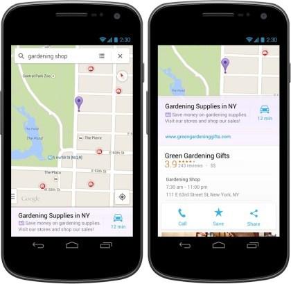 Google Maps App mit Werbung