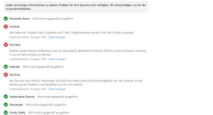 Microsofts Online-Dienste teils offline