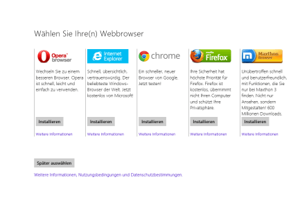 Windows 8.1 Browserwahl