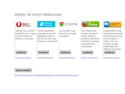 Windows 8.1 Browserwahl