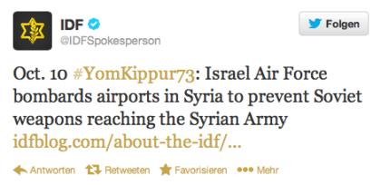 IDF-Tweet Jom Kippur 1973