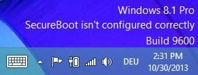 Windows 8.1 SecureBoot-Wasserzeichen
