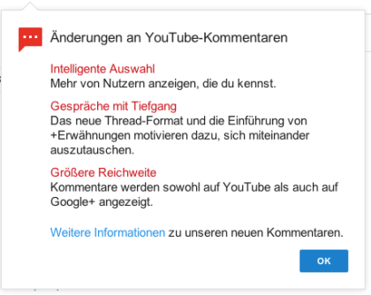 Youtube Kommentar-System-Update