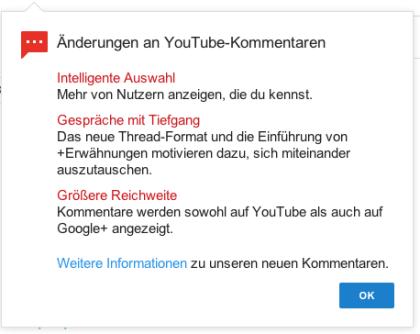 Youtube Kommentar-System-Update