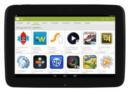 Der optimierte Play Store f�r Tablets