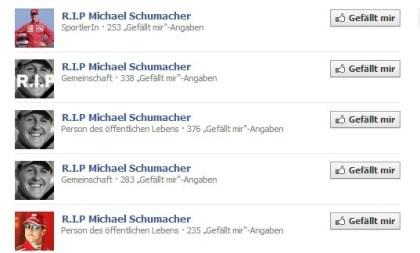 Michael Schumacher: R.I.P.-Facebook-Seiten